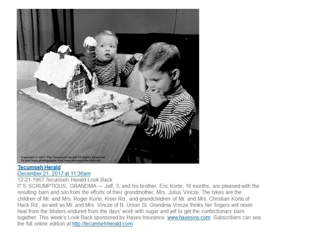 Tecumseh Herald Gingerbread House Jeff and Eric 1967