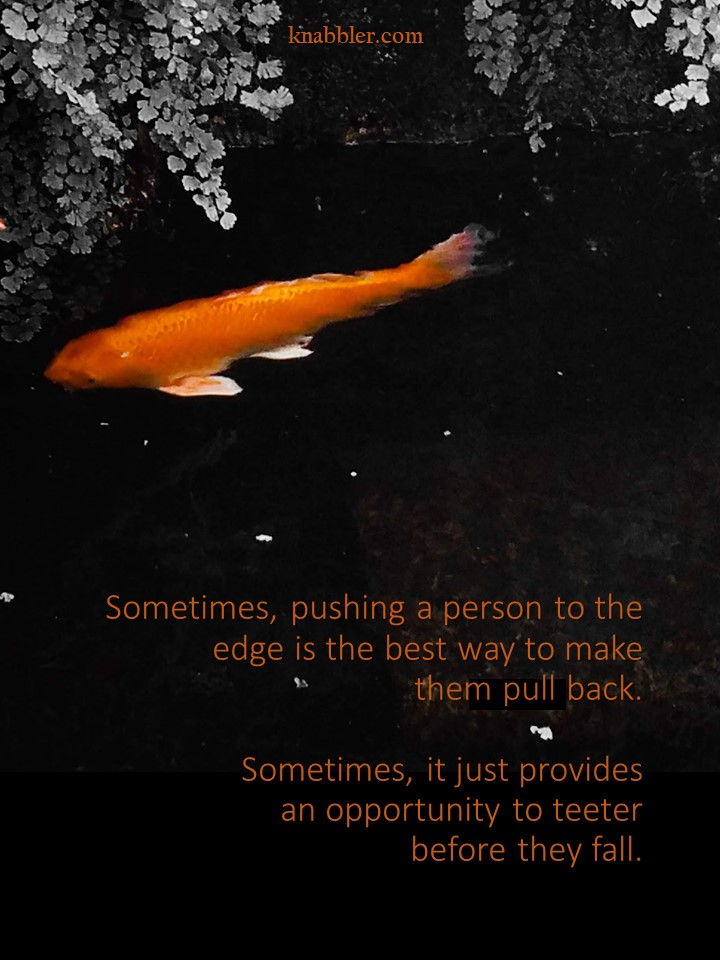 2019 02 05 Sometimes pushing a person to the edge jakorte